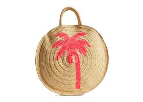 Palmiye Desenli Hasır Çanta