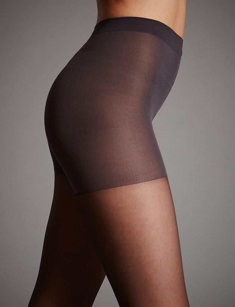 Siyah 7 Denye Cool Comfort™ Zayıf Gösteren Şeffaf Külotlu Çorap