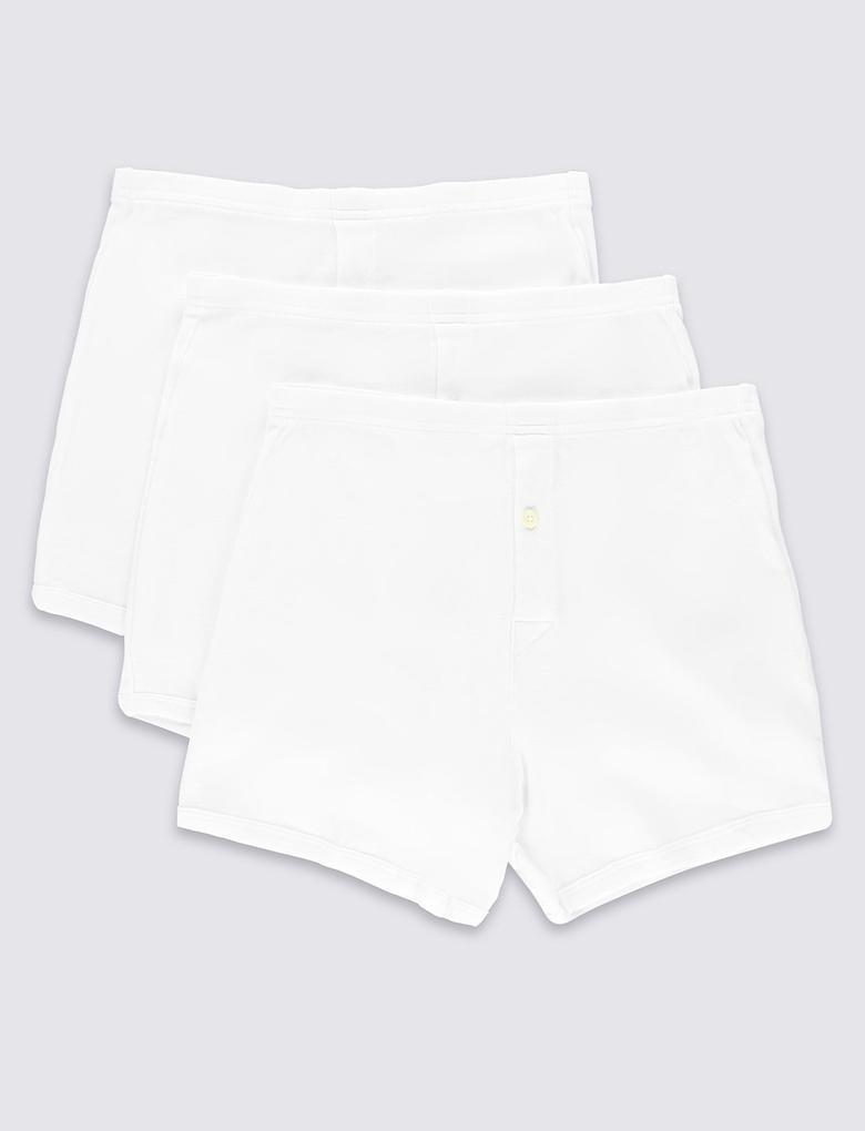 Beyaz 3'lü Saf Pamuklu StayNEW™ Short Külot Seti