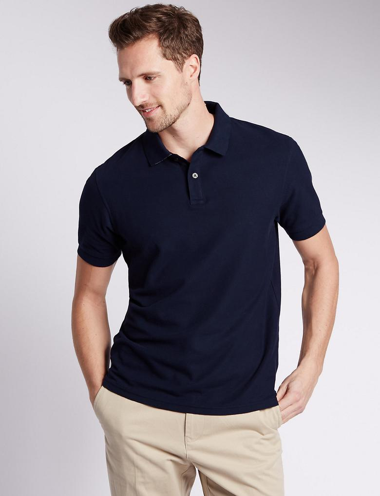 StayNEW™ Saf Pamuklu Tailored Polo Yaka T-Shirt