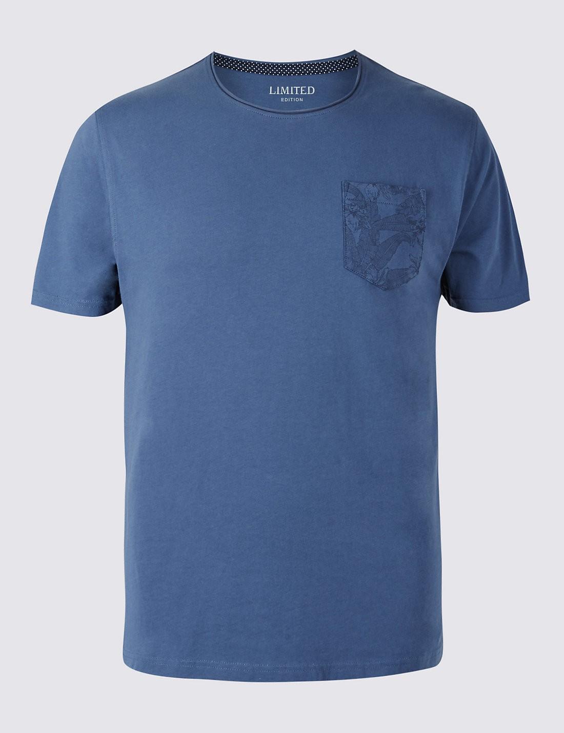 Pure Cotton Slim Bisiklet Yaka T-Shirt