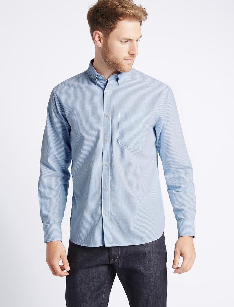 Mavi Saf Pamuklu Oxford Cepli Gömlek