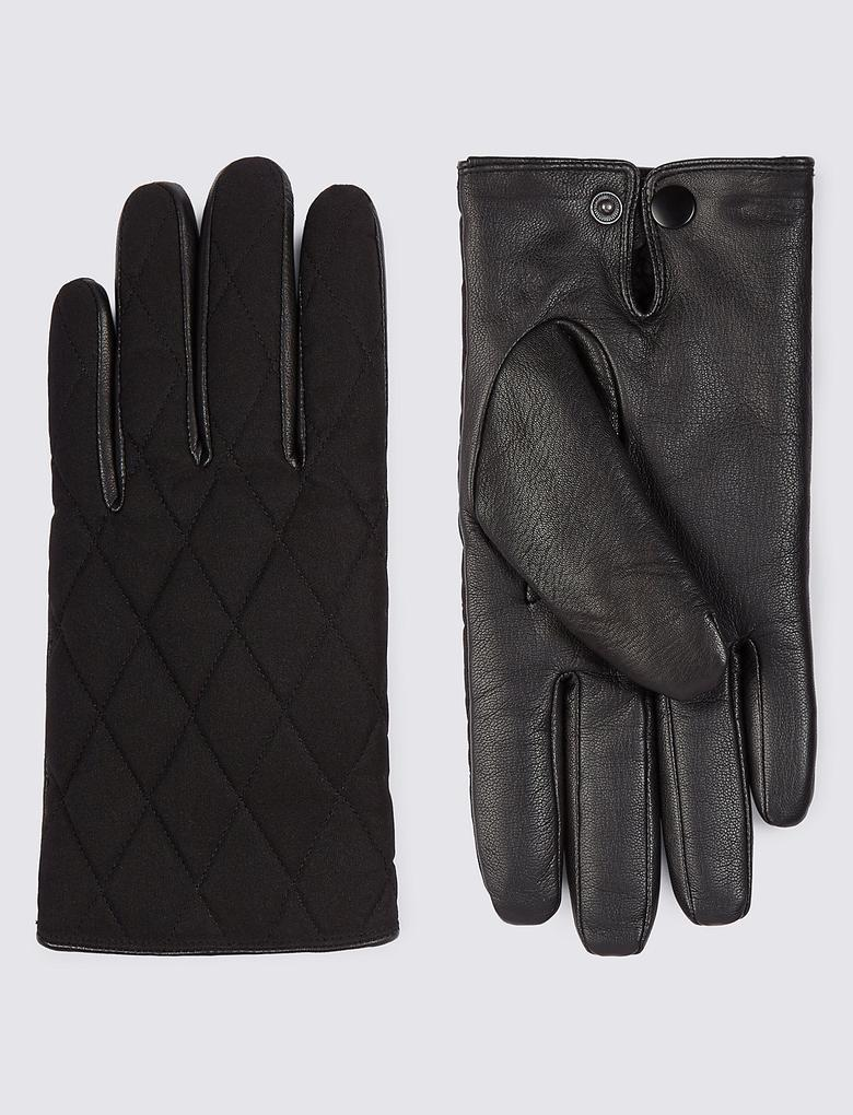 Siyah Deri Şeritli Kapitone Eldiven (Thinsulate™ Teknolojisi ile)