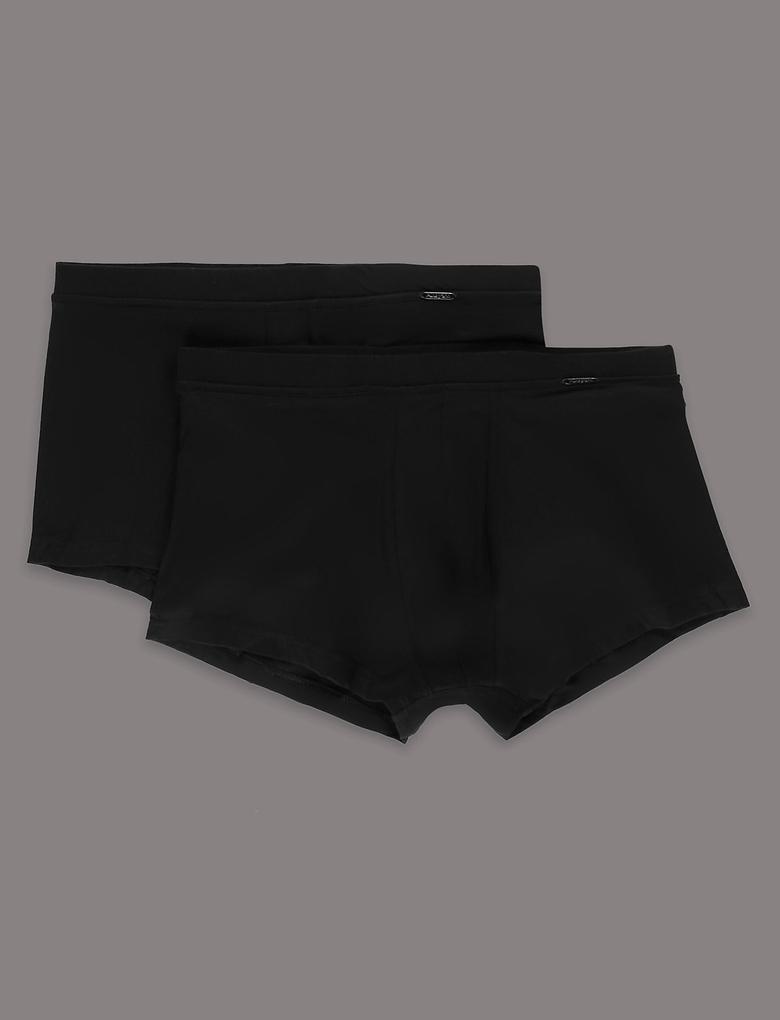 Siyah 2'li Modal Karışımlı Hipster Short Külot Seti