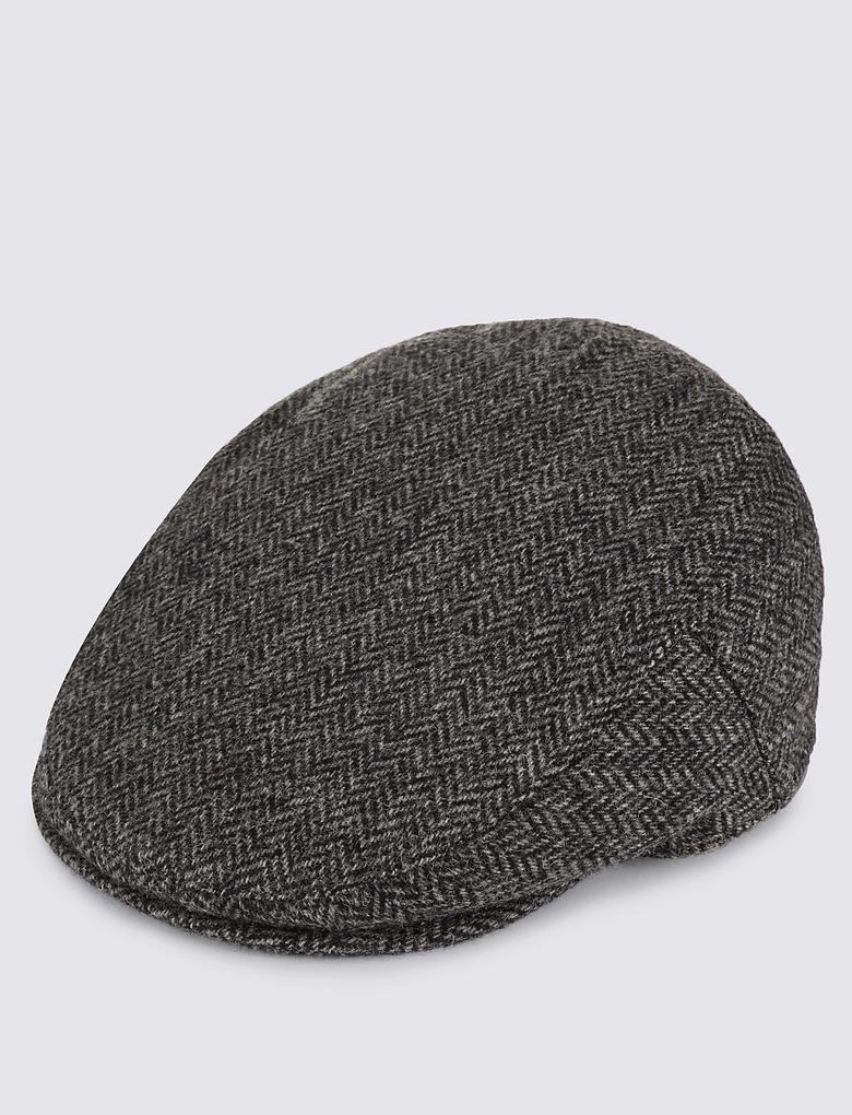 Siyah Saf Yün Desenli Kasket (Stormwear™ ve Thinsulate™ Teknolojileri ile)