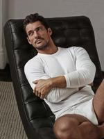 Erkek Beyaz Yumuşak Dokulu Uzun Kollu Atlet
