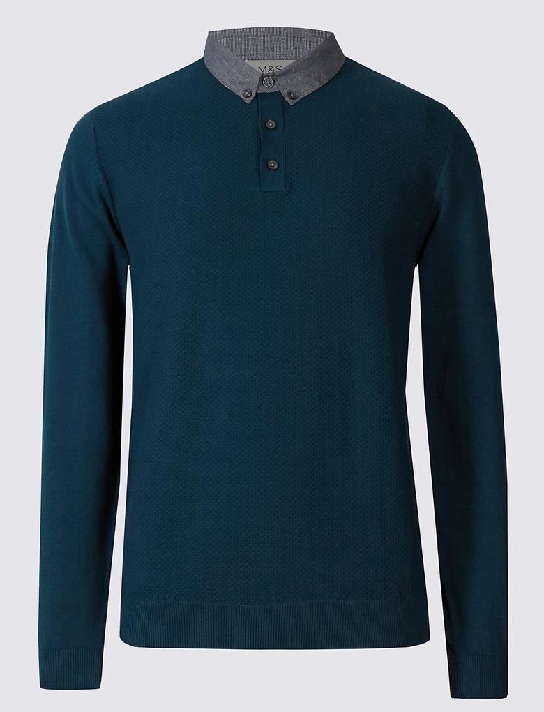 Pure Cotton Gömlek Yakası Detaylı Kazak