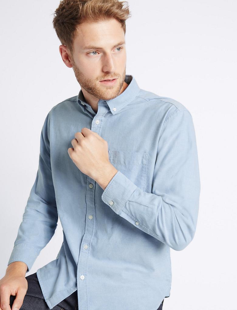 Mavi Saf Pamuklu Easy Care Oxford Gömlek