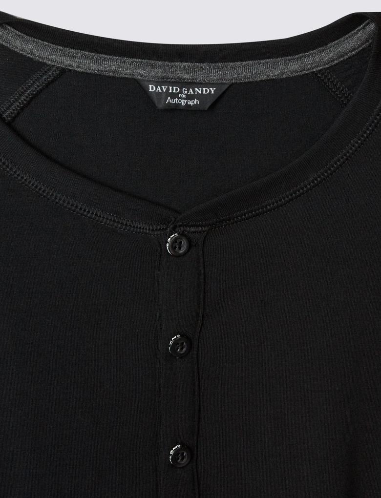 Siyah Supima® Pamuklu Uzun Kollu Pijama Üstü