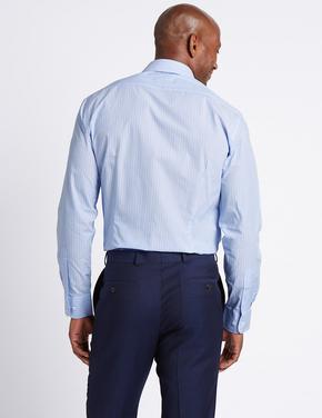 Mavi 3'lü Kolay Ütülenebilir Slim Gömlek