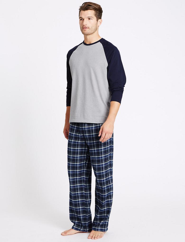 Lacivert Saf Pamuklu Ekose Pijama Takımı