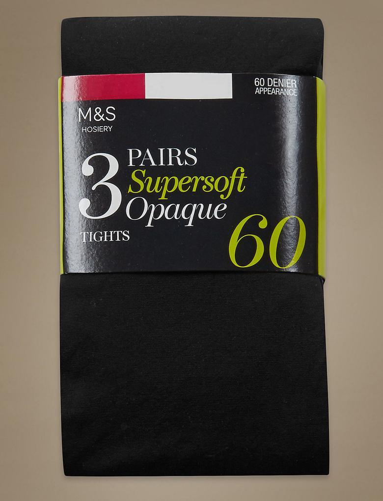 3'lü 60 Denye Yumuşak Dokulu Opak Külotlu Çorap