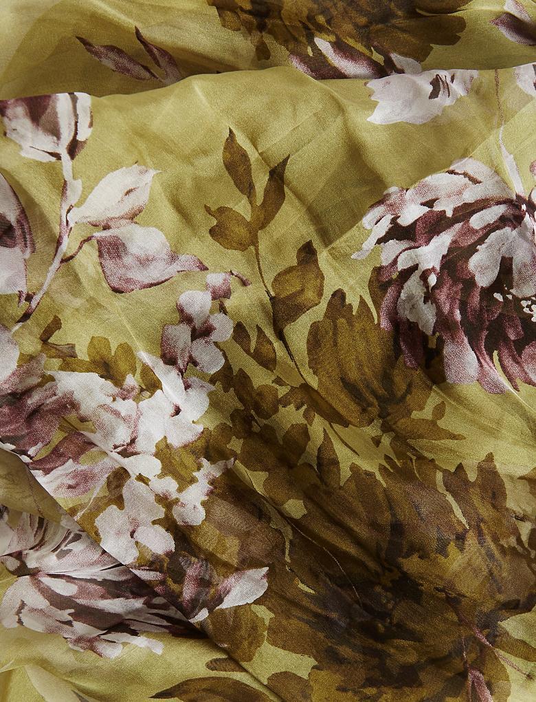 Saf İpek Çiçek Desenli Şal