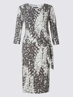 Desenli Bodycon Midi Elbise