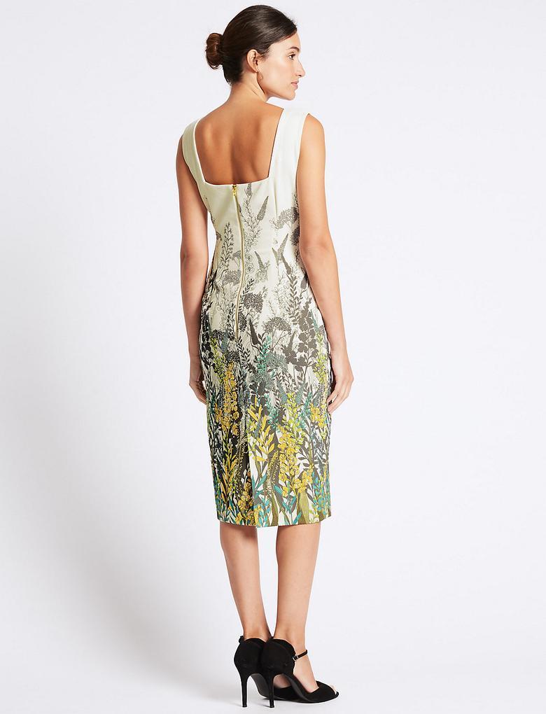 Çiçek Desenli Bodycon Midi Elbise