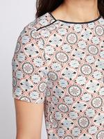 Geometrik Desenli Kısa Kollu Bluz