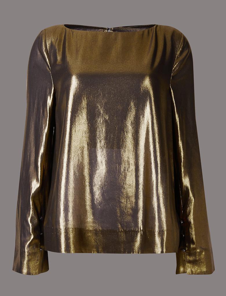 Metalik Kayık Yaka Uzun Kollu Bluz
