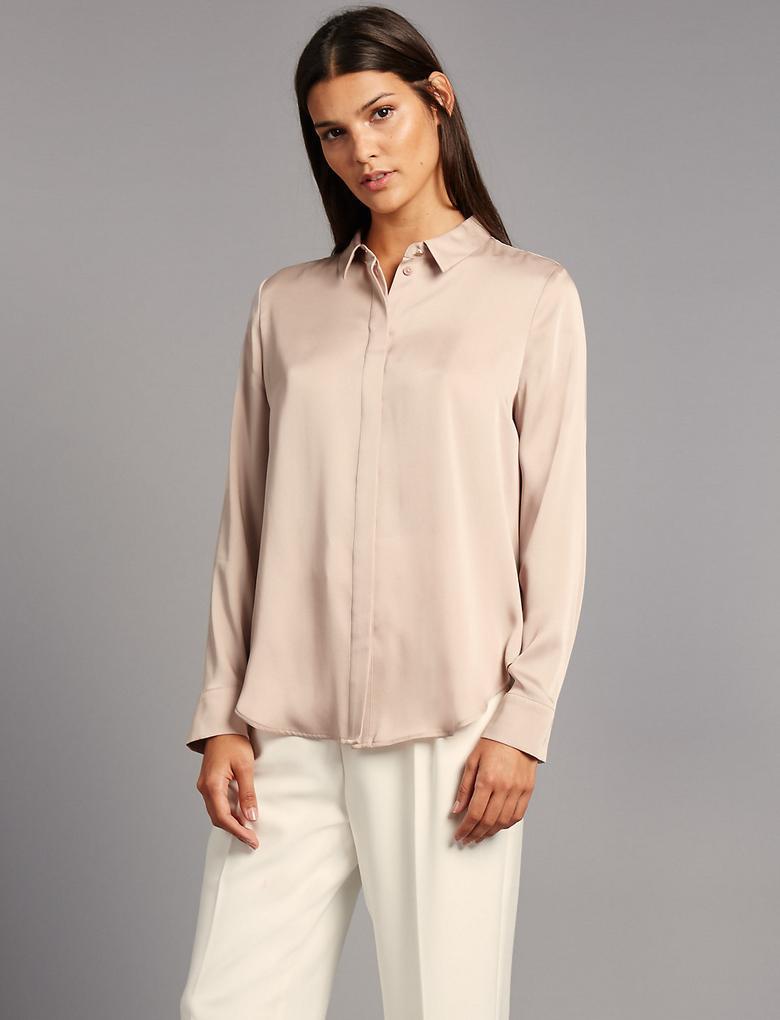 Yırtmaçlı Uzun Kollu Gömlek