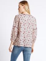 Bej Pamuklu Çiçek Desenli Yarım Kollu Bluz