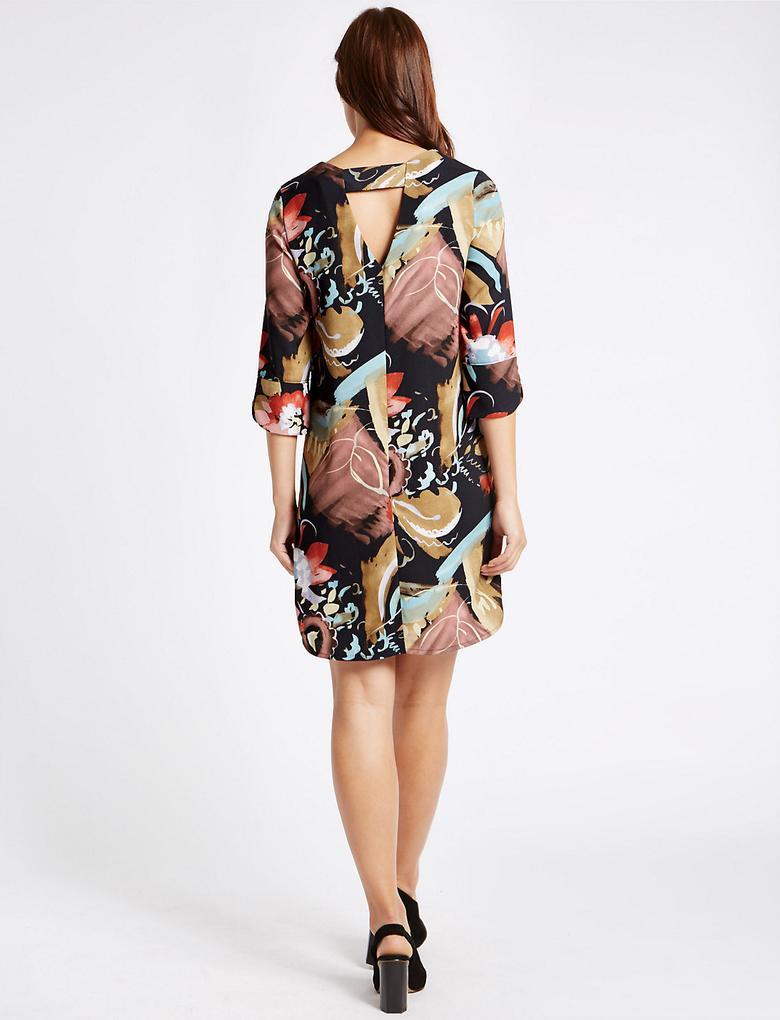 Desenli Yarım Kollu Tunik Elbise