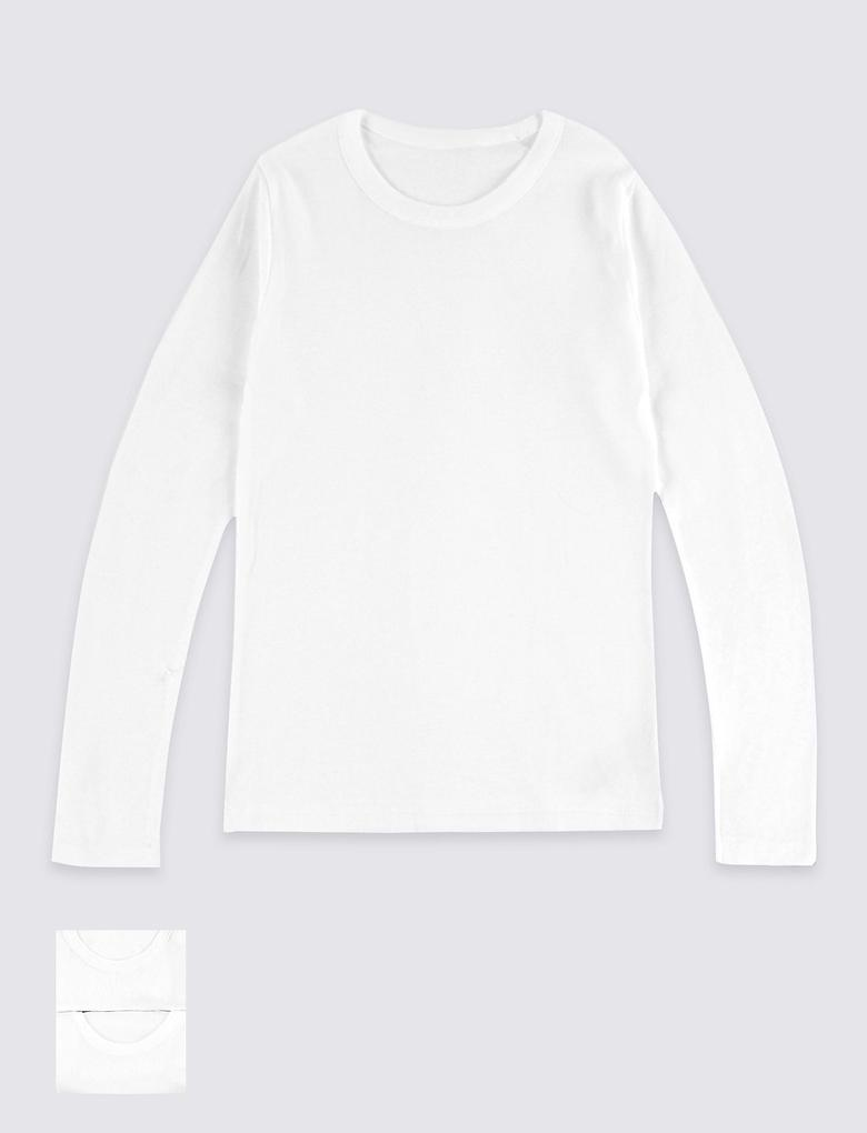Beyaz 2'li Saf Pamuklu Uzun Kollu Atlet