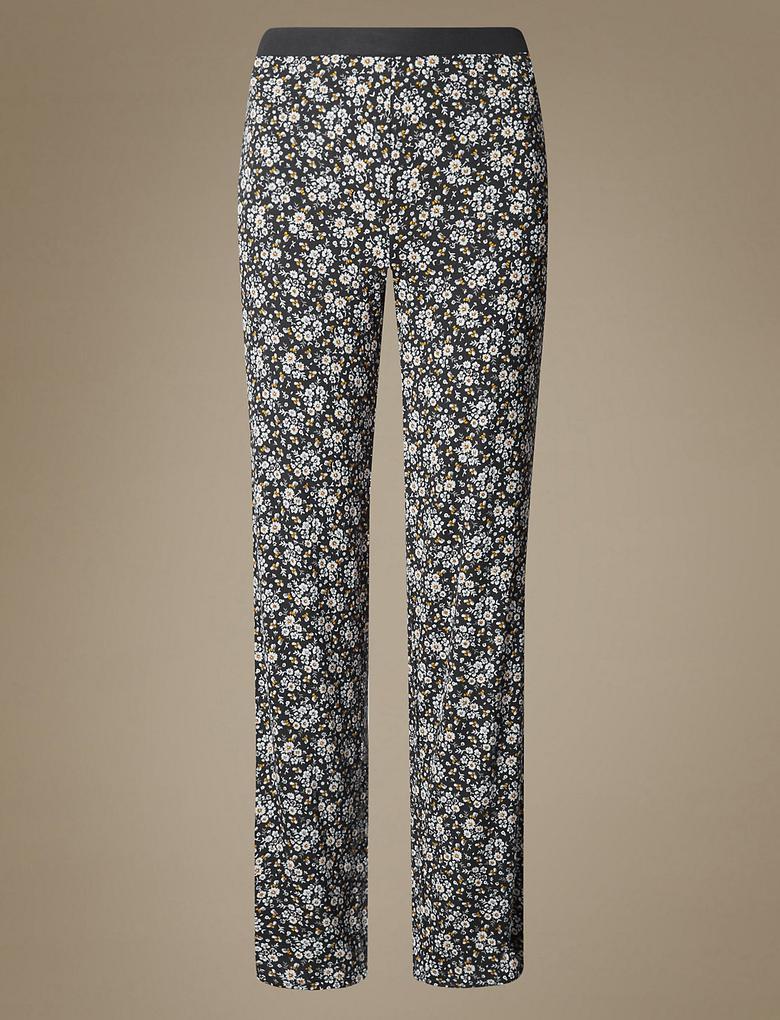 Çiçek Desenli Straight Pijama Altı