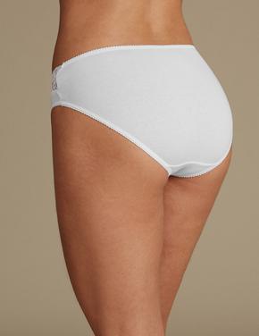 Kadın Beyaz 5'li Dantelli Yüksek Belli High Leg Külot