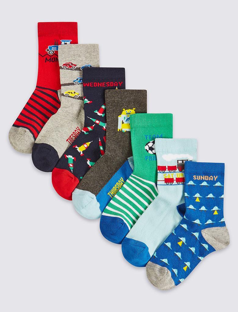 7'li Pamuklu Çorap (1 - 6 Yaş)