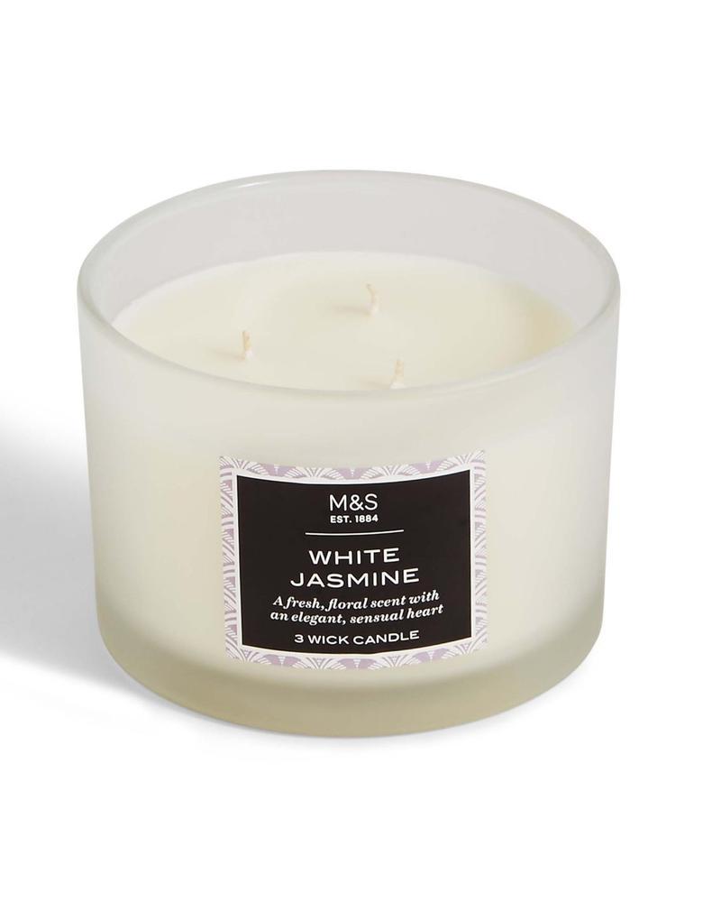 Beyaz Yasemin Kokulu 3 Fitilli Mum