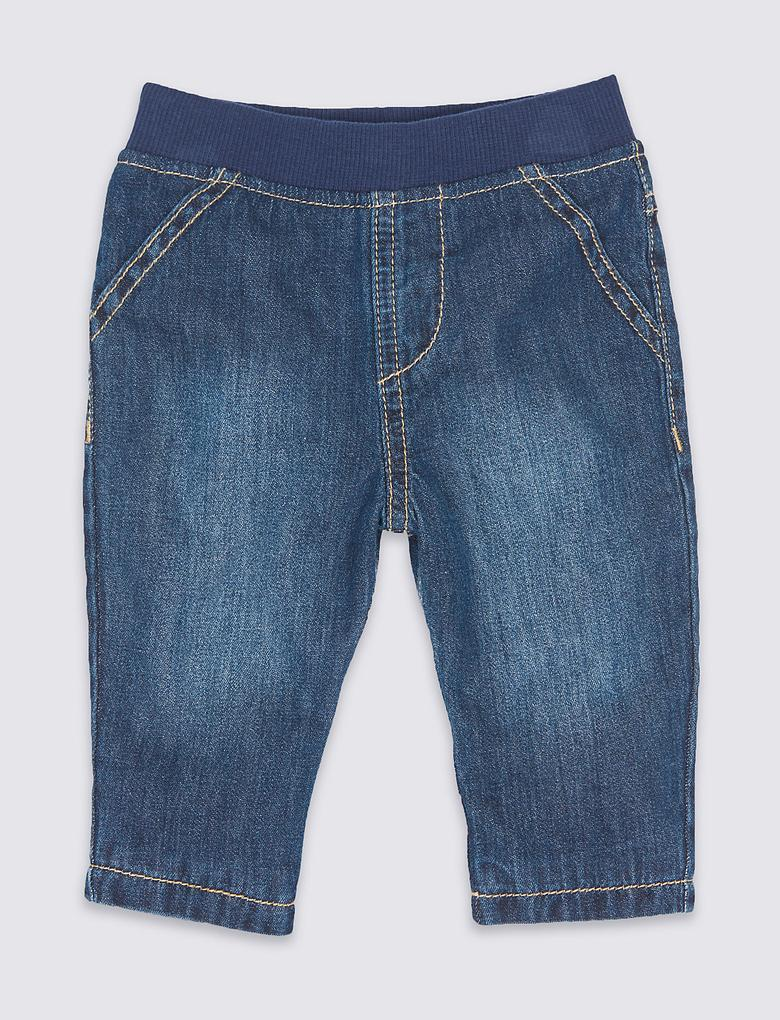 Saf Pamuklu Denim Pantolon