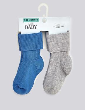 Bebek Mavi 4'lü Pamuklu StaySoft™ Bebek Çorap Seti (0 - 24 Ay)