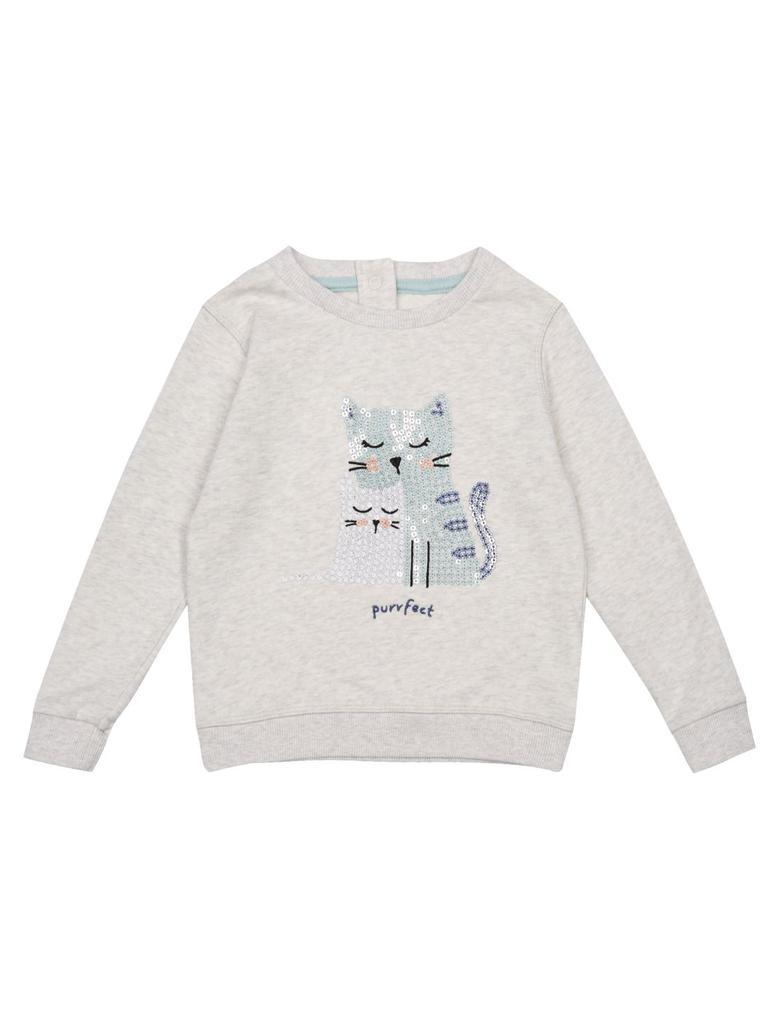 Bej Saf Pamuklu Kedi Desenli Sweatshirt (3 Ay - 5 Yaş)