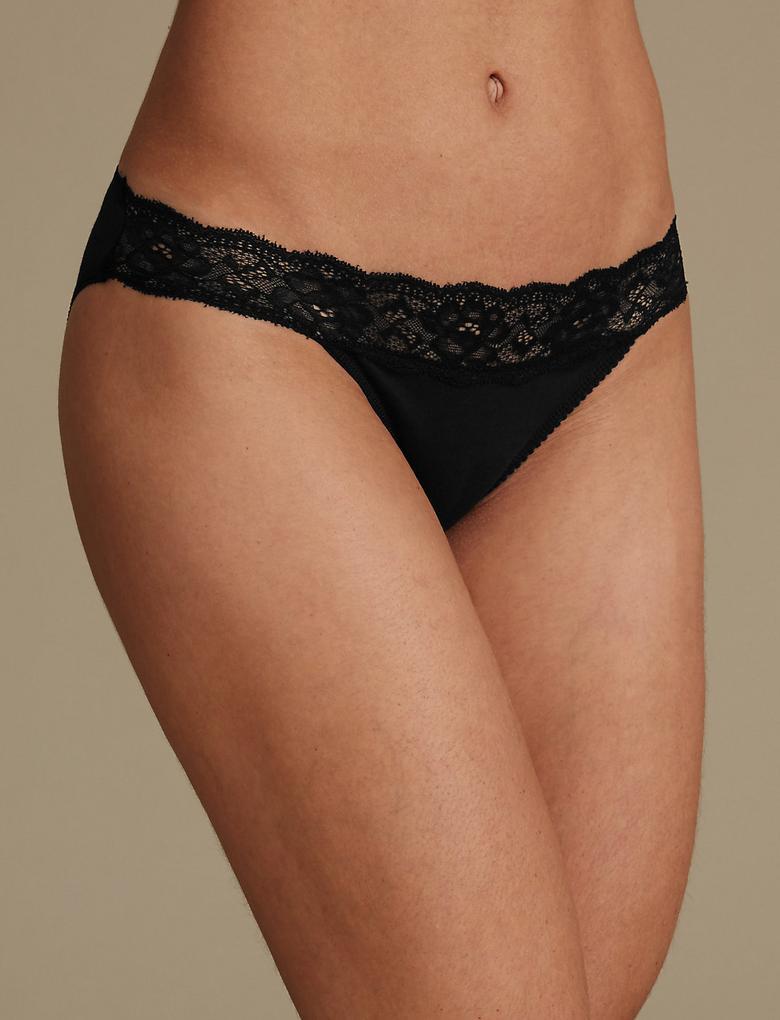 Kadın Siyah 5'li Pamuklu Dantelli Bikini Külot Seti