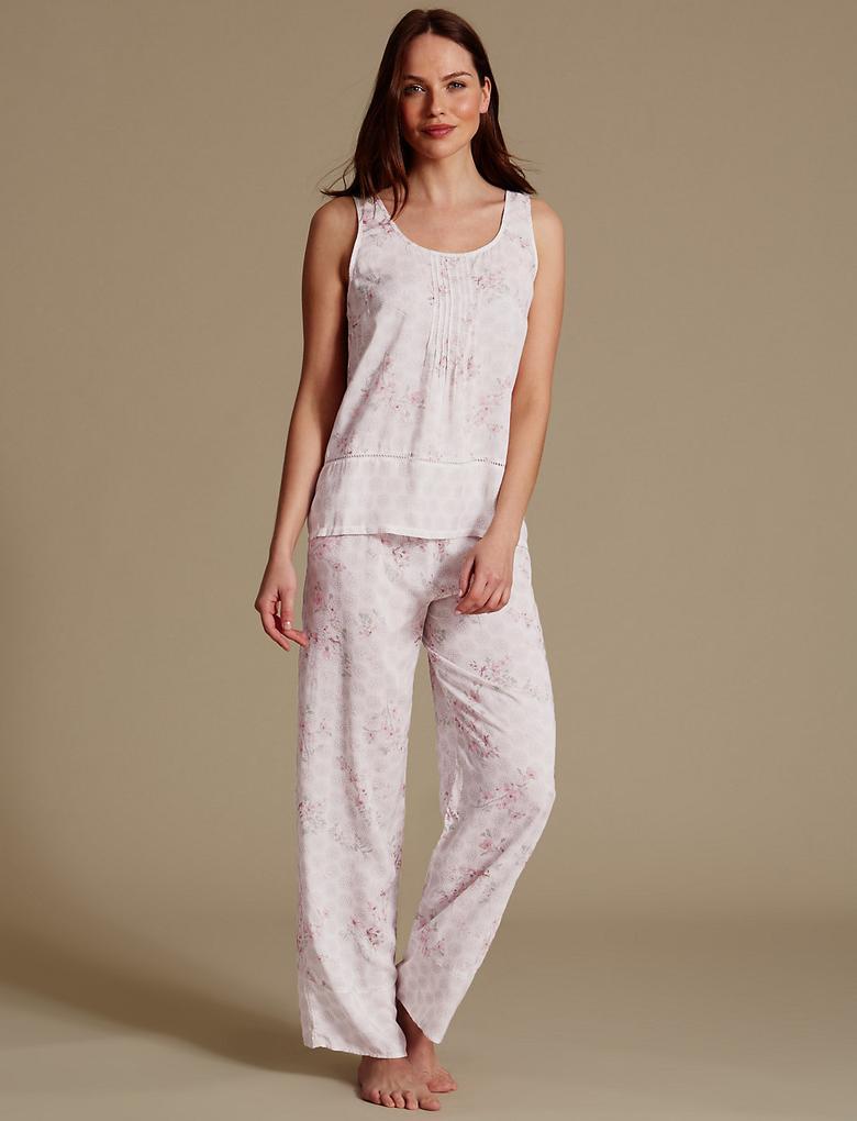 Bej Saf Modal Kumaşlı Desenli Kolsuz Pijama