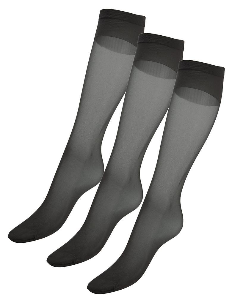 3'lü 15 Denye Medium Support Parlak Diz Altı Çorap (Siver Teknolojisi ile)