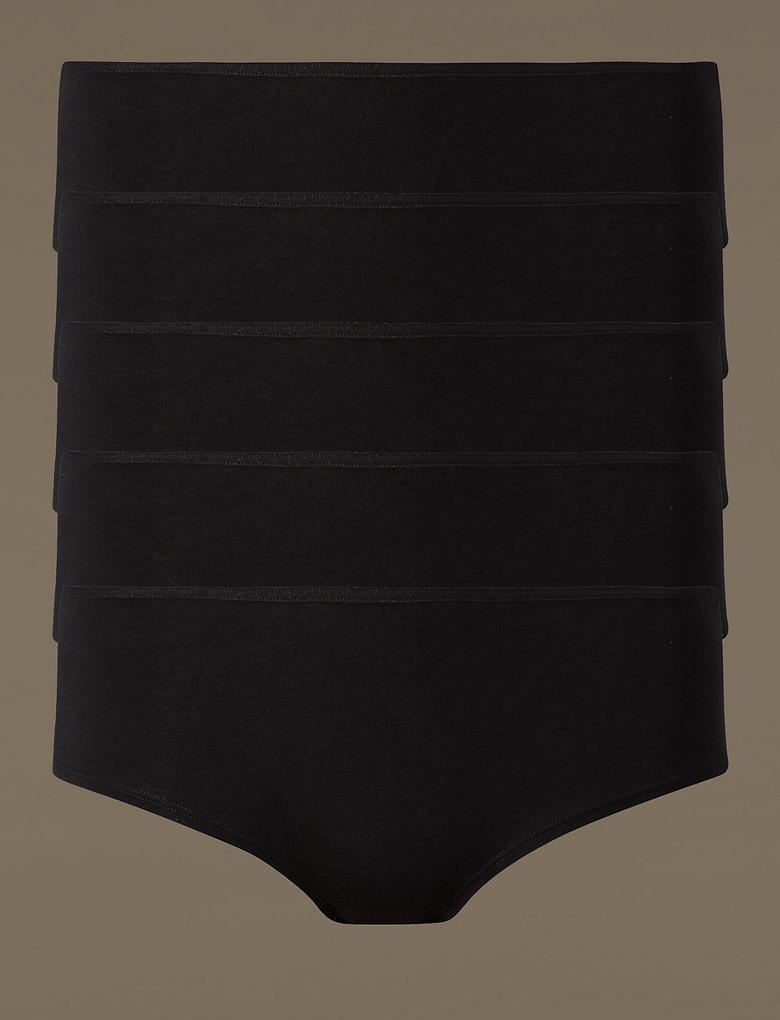 Kadın Siyah 5'li Pamuklu Düşük Bel Short Külot (Yeni ve Geliştirilmiş Kumaş)