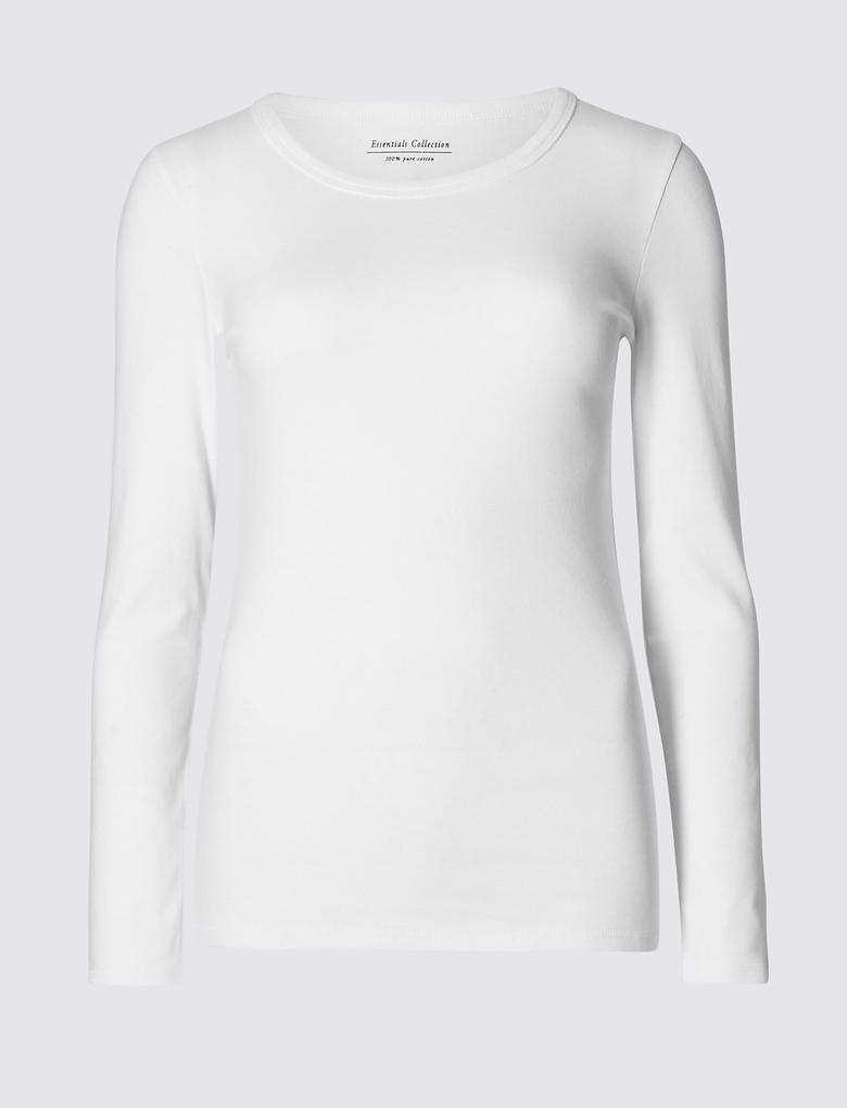 Pure Cotton Yuvarlak Yaka Uzun Kollu T-Shirt