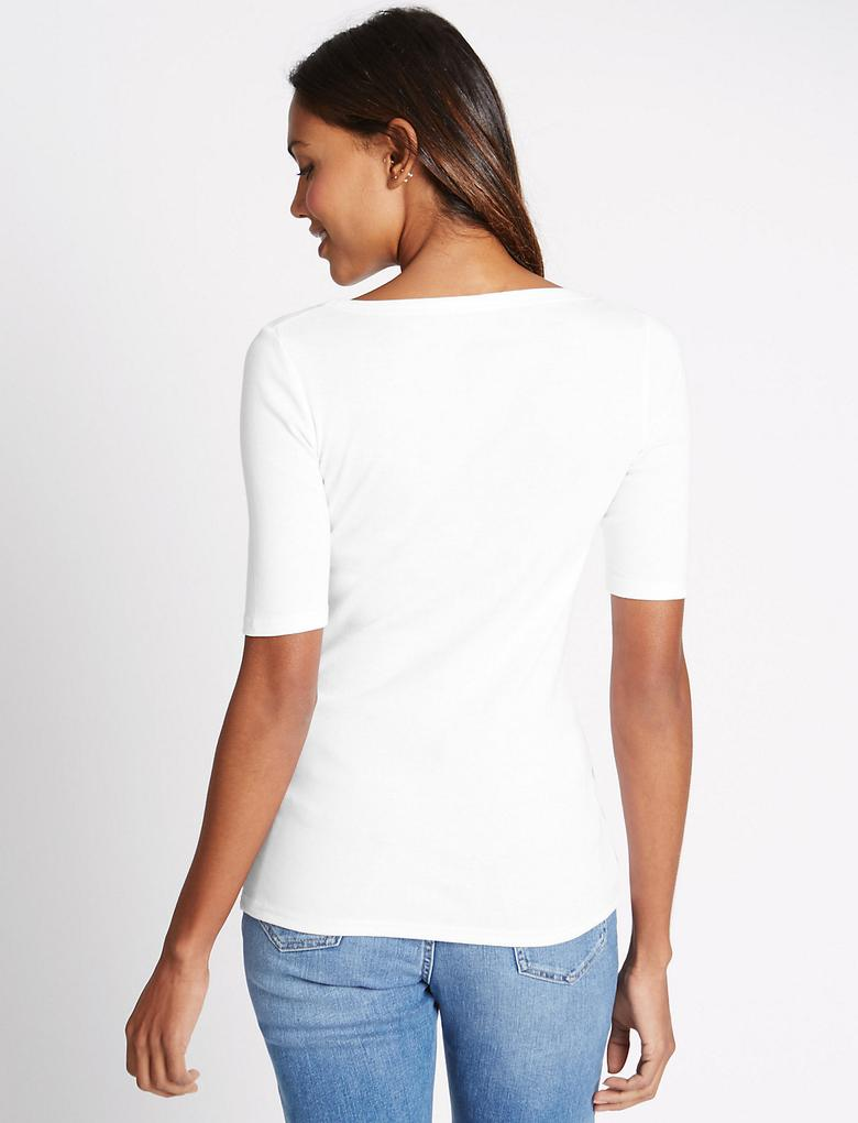 Saf Pamuklu Kayık Yaka Yarım Kollu T-Shirt