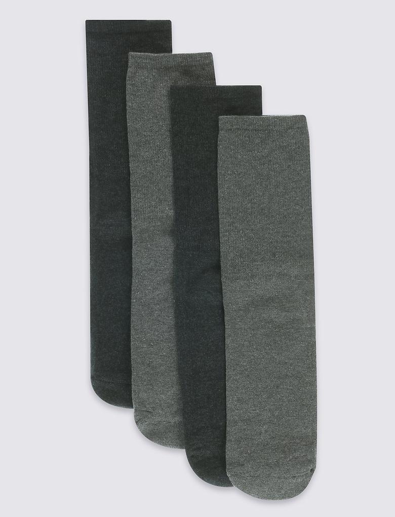 Gri 4'lü Pamuklu Çorap