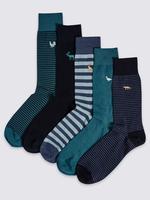 5'li İşlemeli Çorap (Cool & Freshfeet™ Teknolojisi ile)