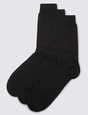 Siyah 3'lü Saf Pamuklu Çorap