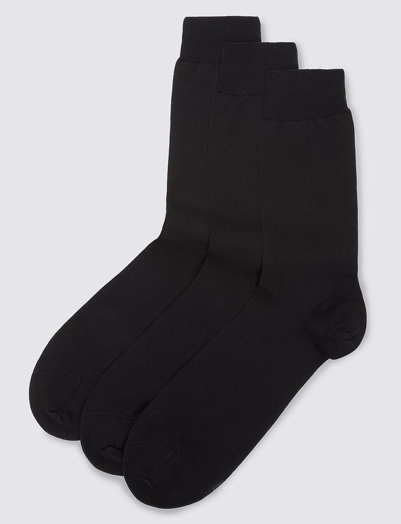 3'lü Saf Pamuklu Çorap