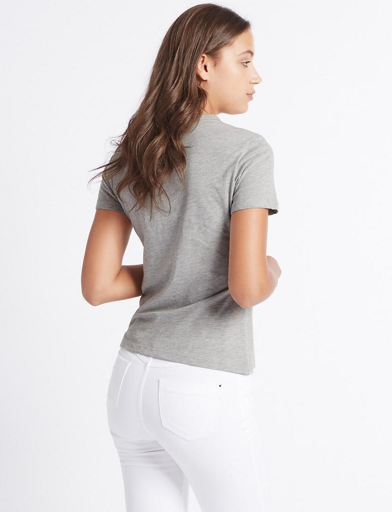 Pullu Kuş Desenli T-Shirt