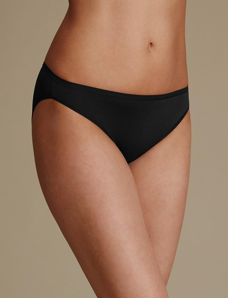 Kadın Siyah 5'li İz Bırakmayan Mikrofiber High Leg Külot