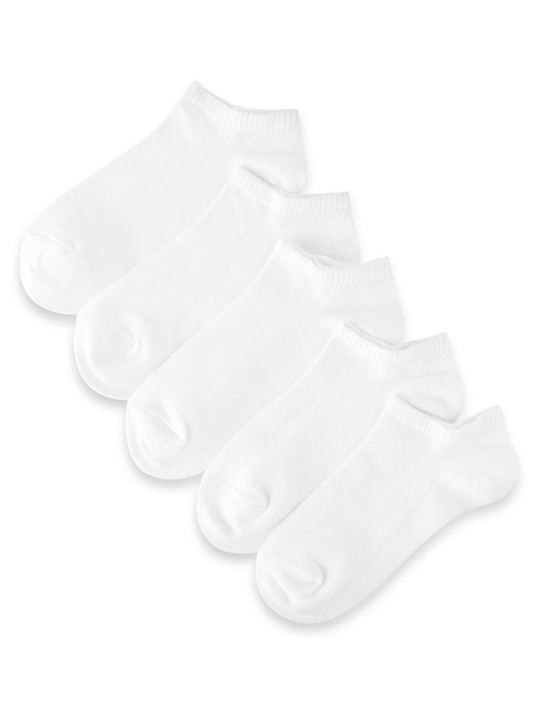 Erkek Çocuk Beyaz 5'li Freshfeet™ Pamuklu Çorap (5 - 14 Yaş)