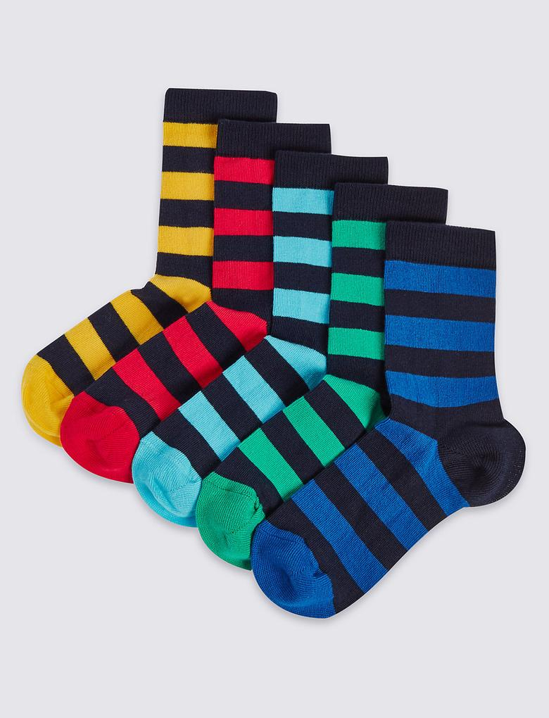 Multi Renk 5'li Pamuklu Freshfeet™ Çizgili Çorap