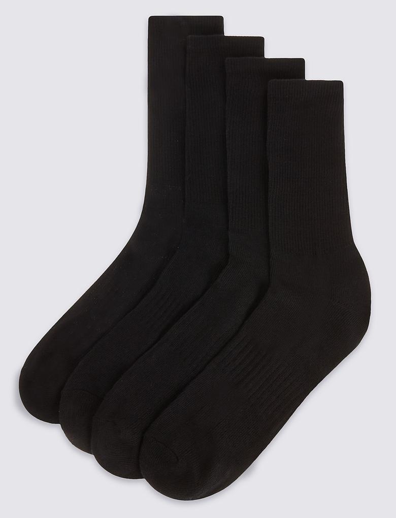 Siyah 4'lü Pamuklu Çorap Seti