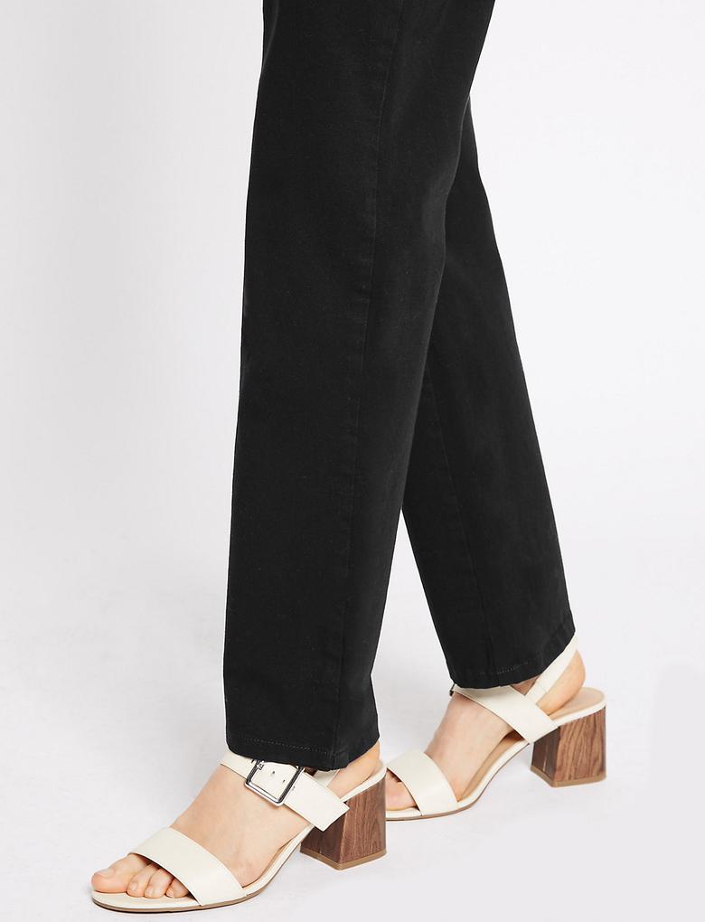 Kadın Siyah Pamuklu Esnek Straight Pantolon