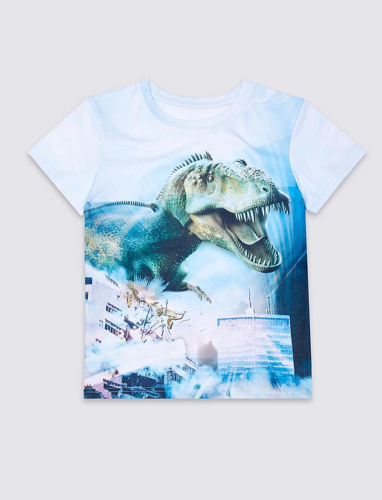 Dinazor Desenli Kısa Kol T-Shirt (3 - 14 Yaş)