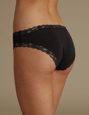 Siyah Pamuklu Dantelli Bikini Külot